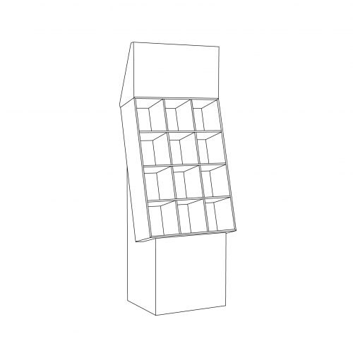 Cardboard floor display with header and 3 shelves with 2 separators per shelf - outline