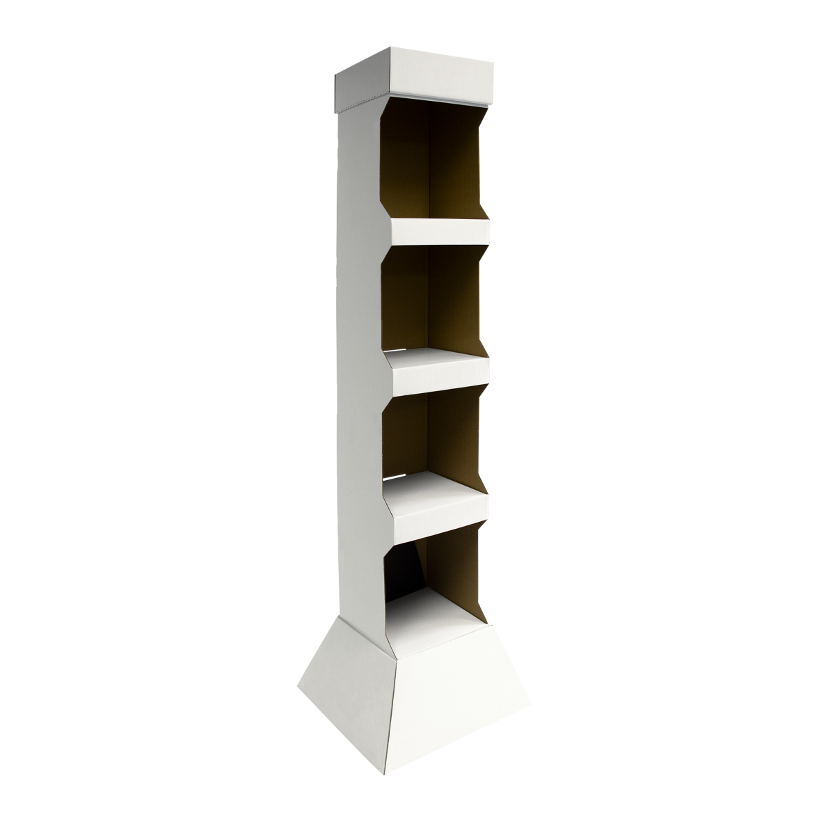 Cardboard floor display with shelves - white