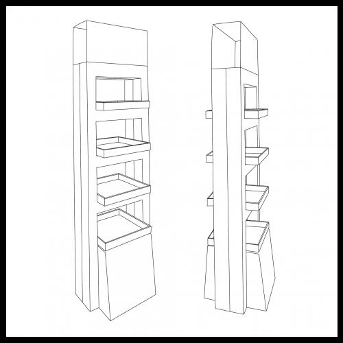 Présentoir de plancher en carton, de forme carrée, avec 4 tablettes vertes et une en-tête - tracé