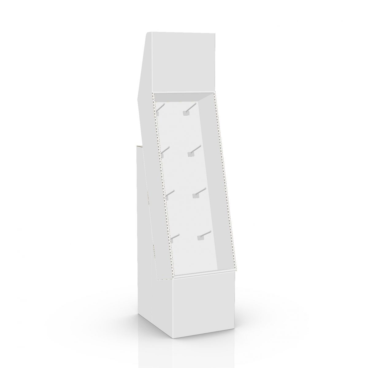 Cardboard floor peg display with header, placed on a base - 3d