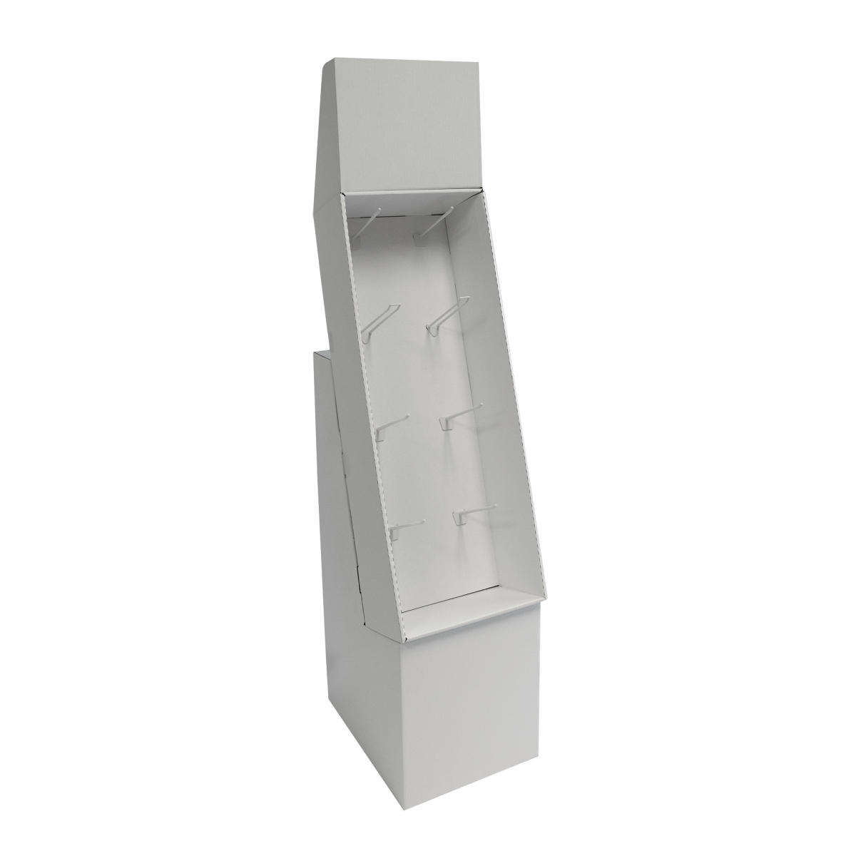 Cardboard floor peg display with header and 4 shelves, placed on a base - white