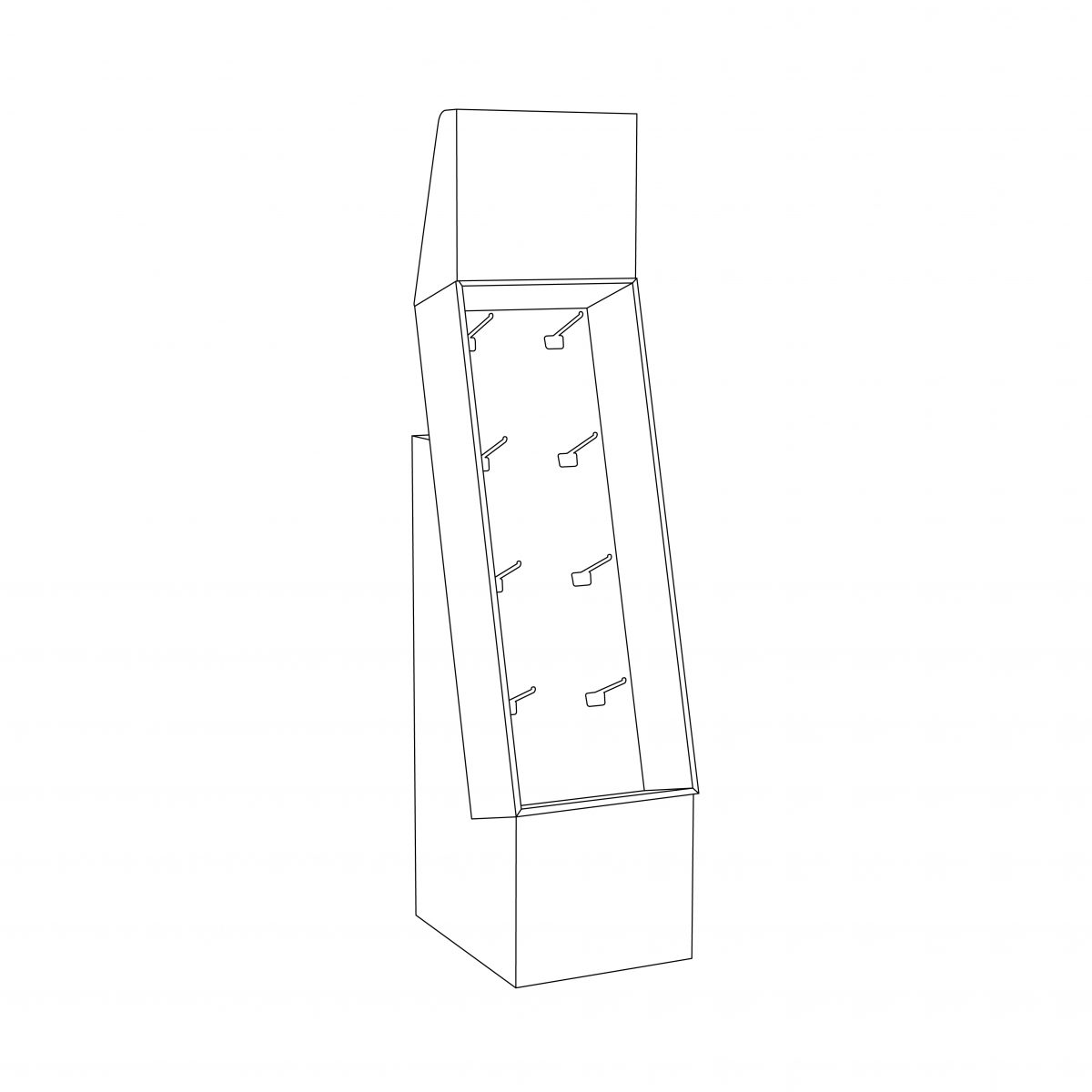 Cardboard floor peg display with header, placed on a base - outline