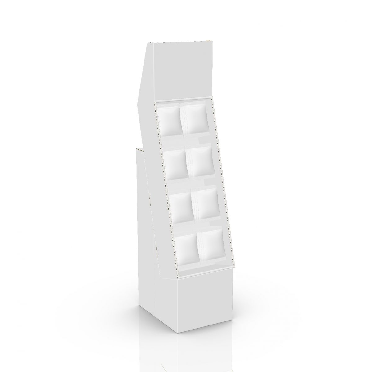 Cardboard floor peg display with header and 4 shelves, placed on a base - 3d
