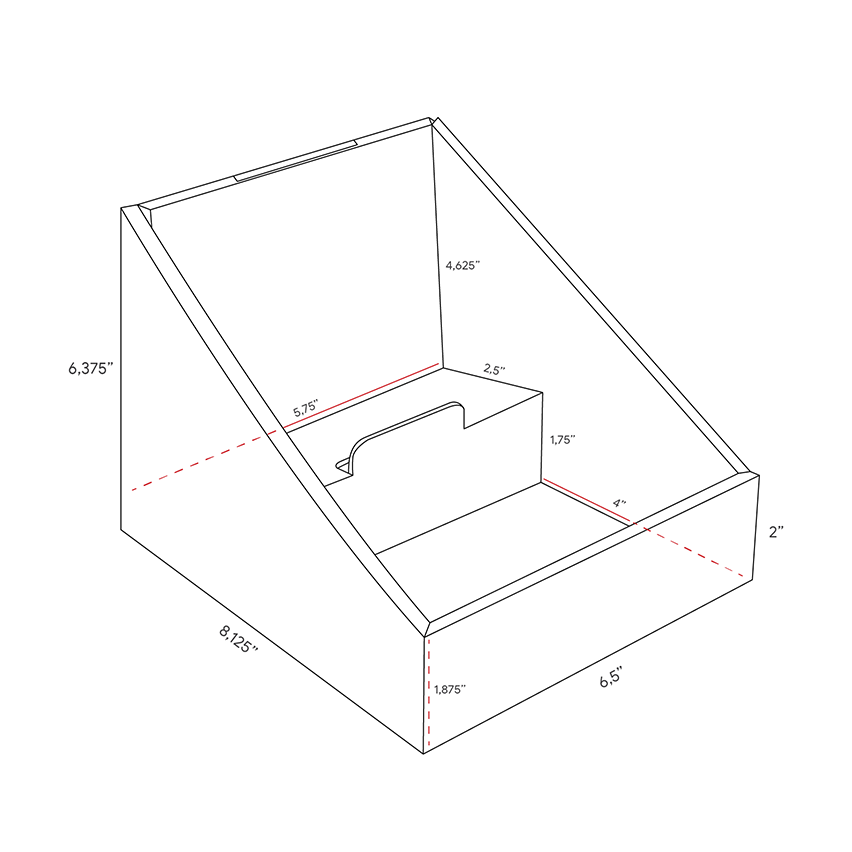 Small Cardboard counter displays with 2 levels - dimensions