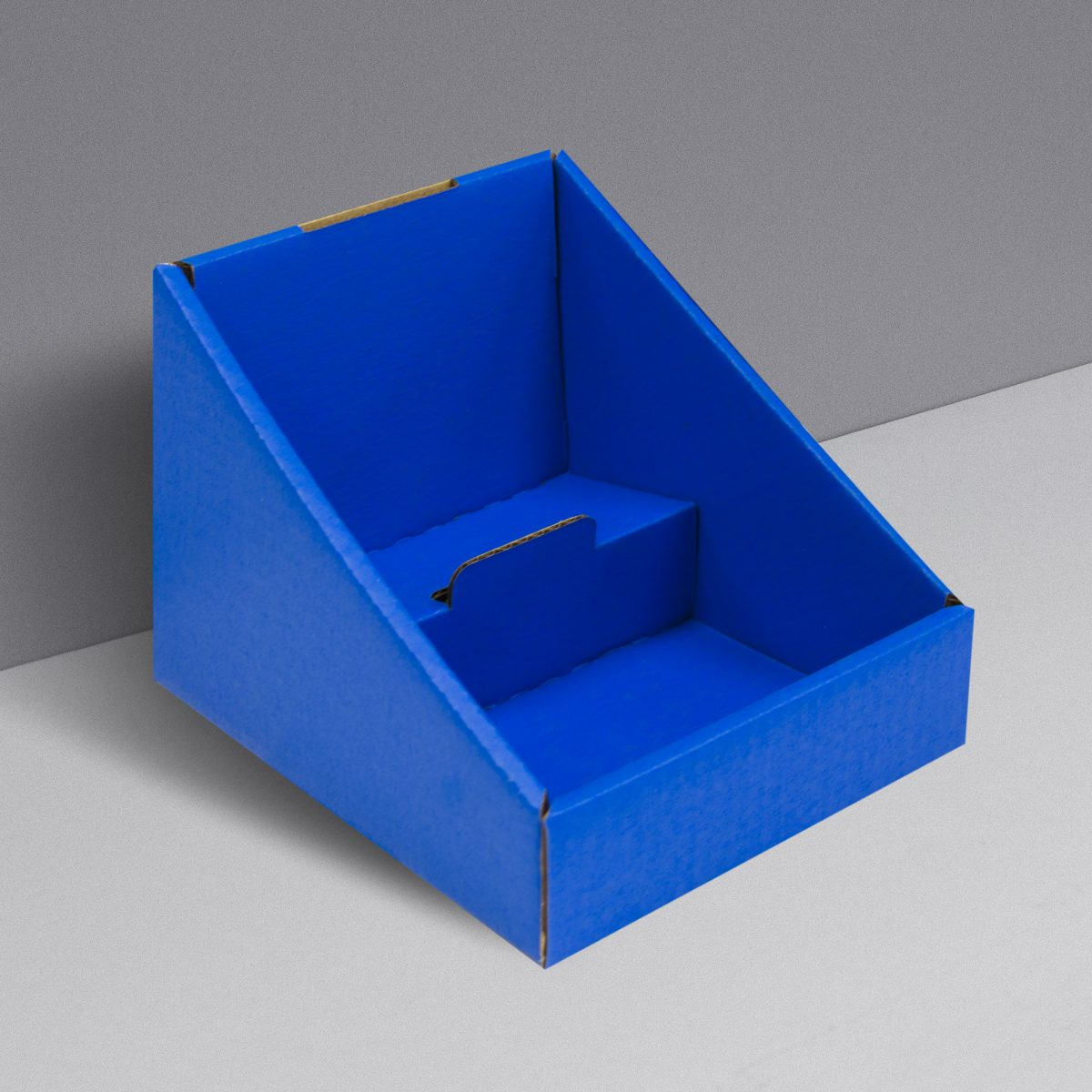 Small Cardboard counter display with 2 shelves/levels - blue