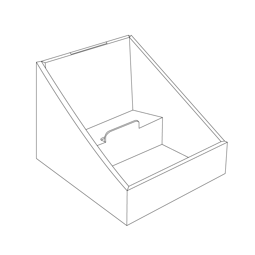 Cardboard counter displays with 2 levels - outline
