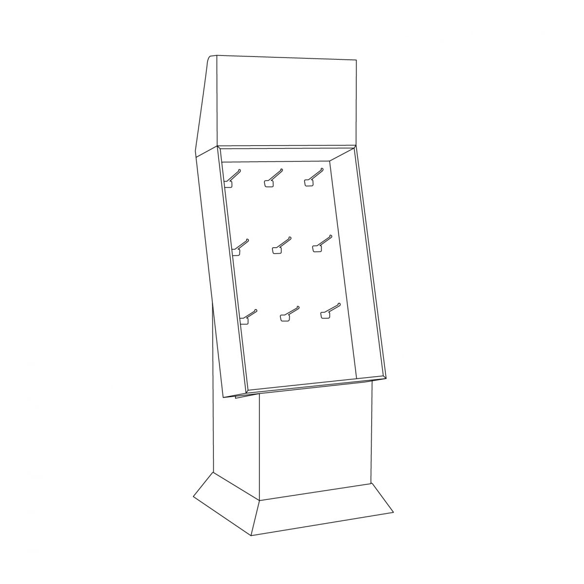 Cardboard floor peg display with header, placed on a base and a kicker- outline