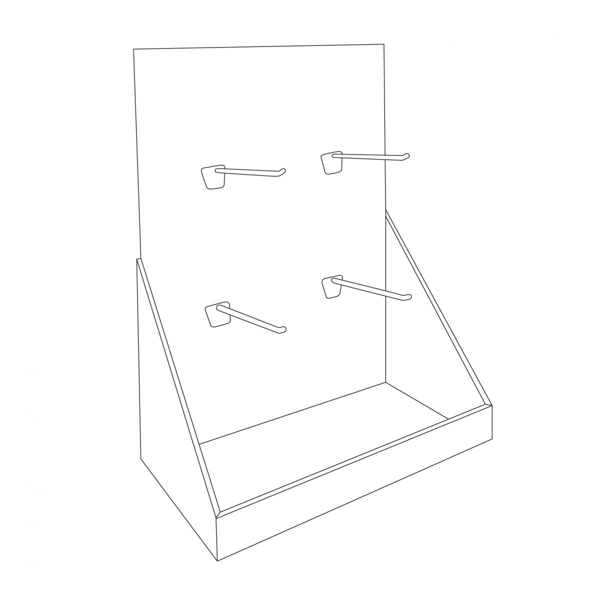 Cardboard counter display with 4 pegs/hooks for face masks - covid-19 face mask - outline