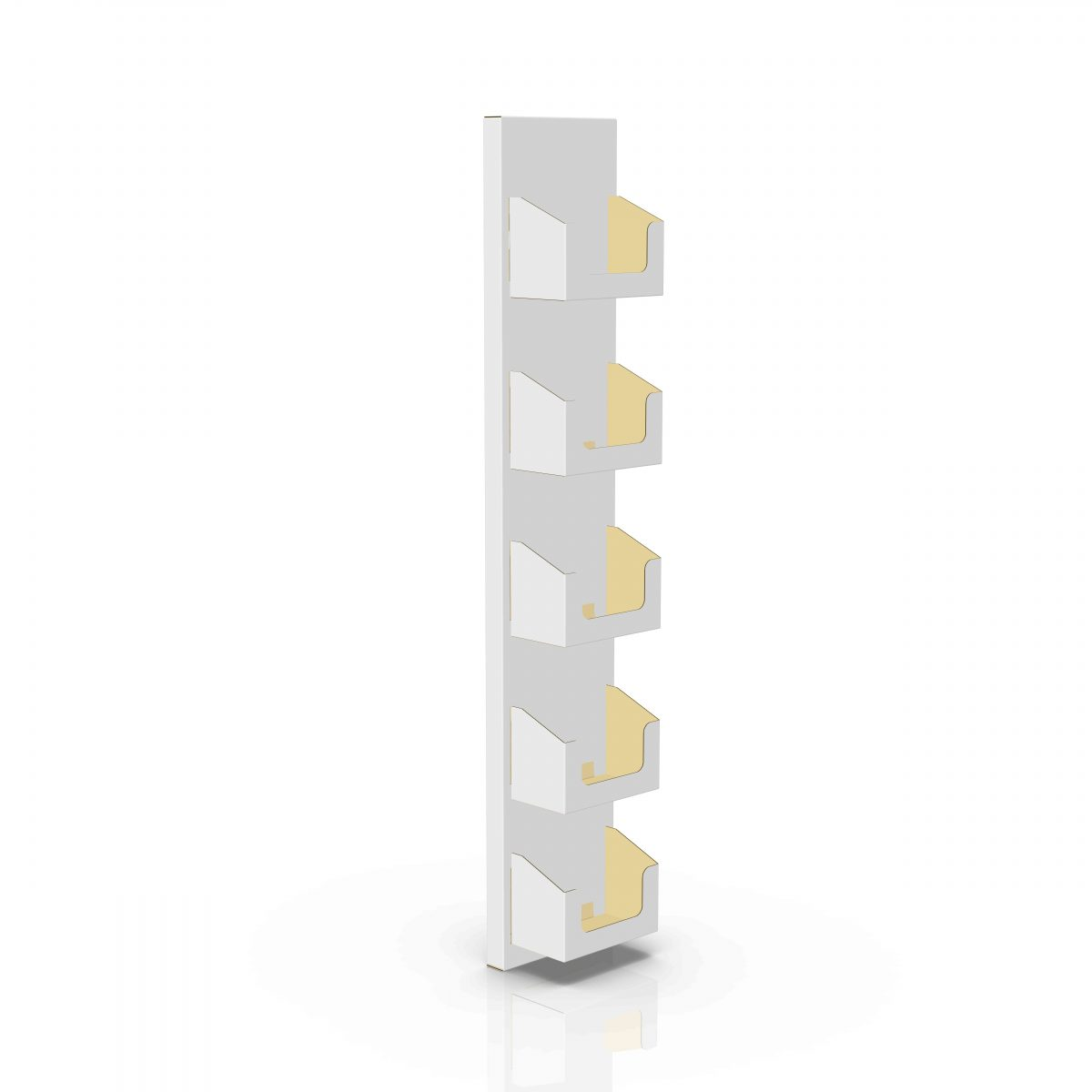 Cardboard display sidekick with 5 shelves for cd, can be wall mounted - 3d