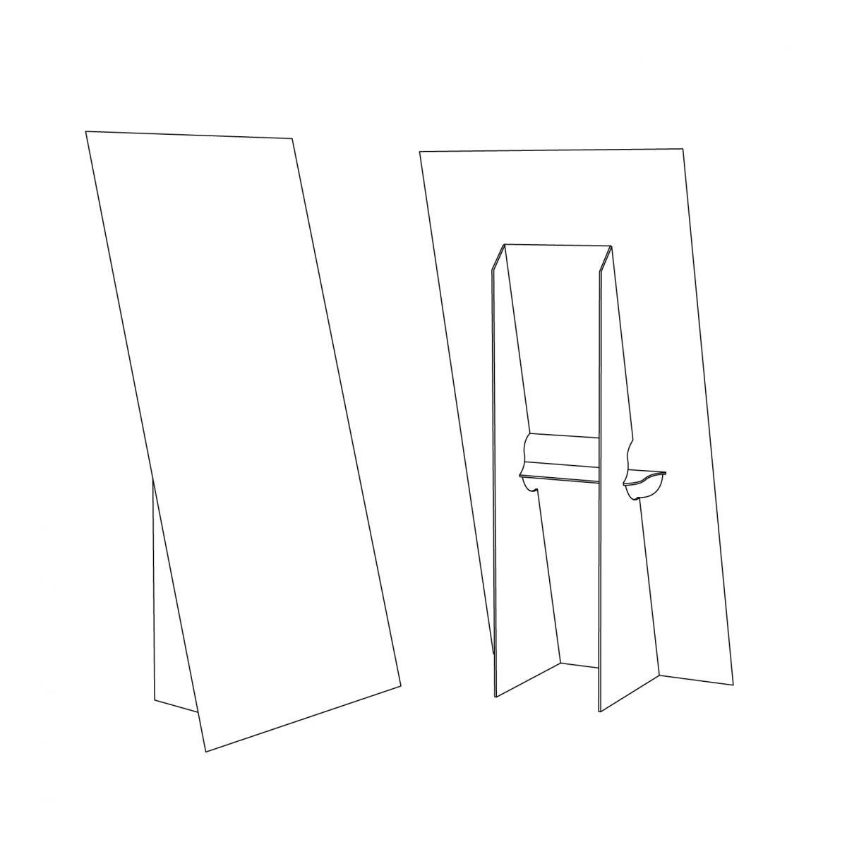 Cardboard or coroplast floor display - easel - outline