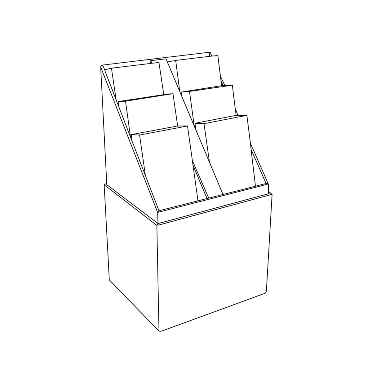 Cardboard floor display quart pallet with a display and 3 shelves - outline