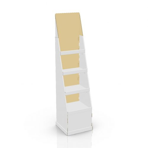 Tall Cardboard floor display with shelves - 3d