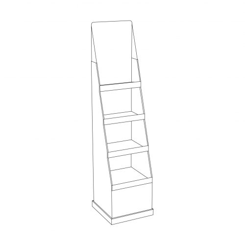 Tall Cardboard floor display with shelves - outline