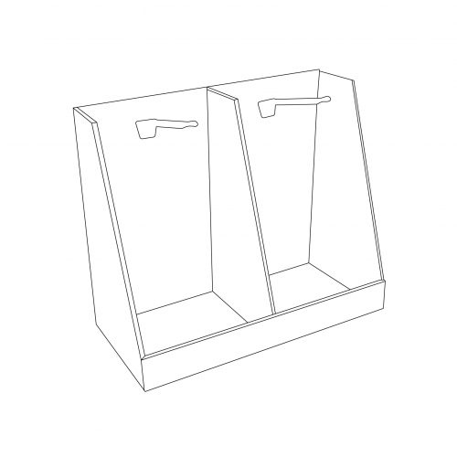 Cardboard counter display with pegs - outline