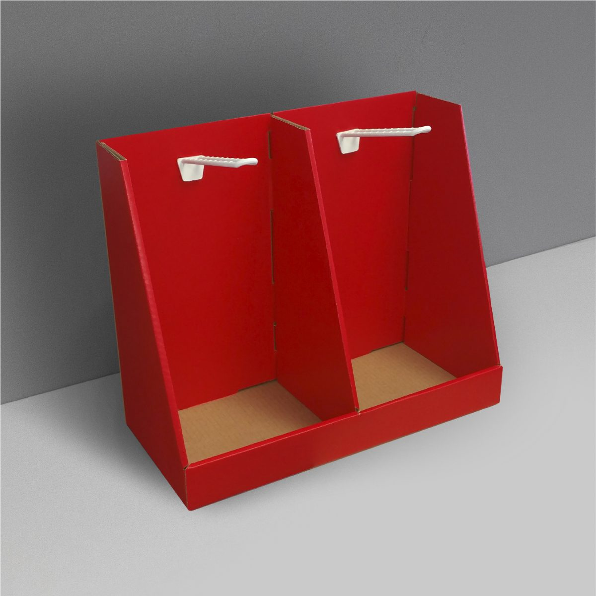 Cardboard counter display with pegs (1 each sides) and separator in the middle - red