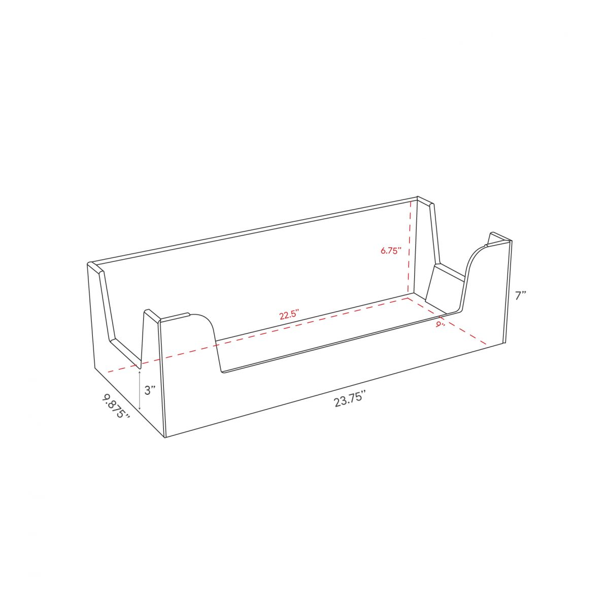 Cardboard counter display, rectangle box - dimensions