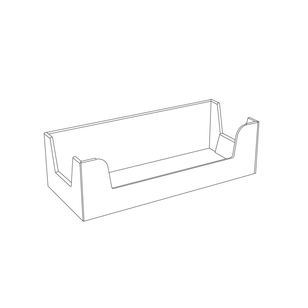 Cardboard counter display, rectangle box - outline