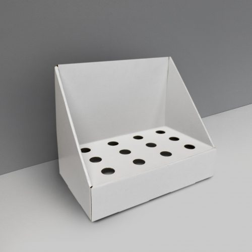 Cardboard counter display with small slots - white