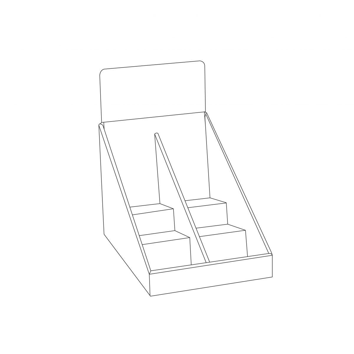 Présentoir de comptoir en carton avec en-tête et 3 tablettes avec séparateur au milieu - Tracé
