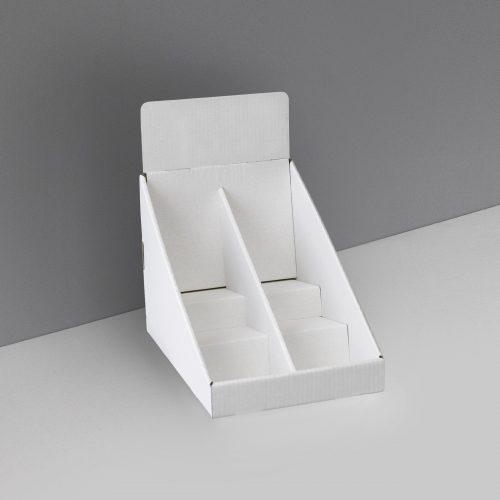 Présentoir de comptoir en carton avec en-tête et 3 tablettes avec séparateur au milieu - blanc