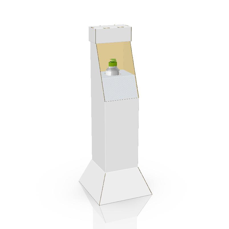Présentoir de plancher personnalisé en carton avec insertion en coroplast pour bouteille de désinfectant pour les mains - 3d blanc