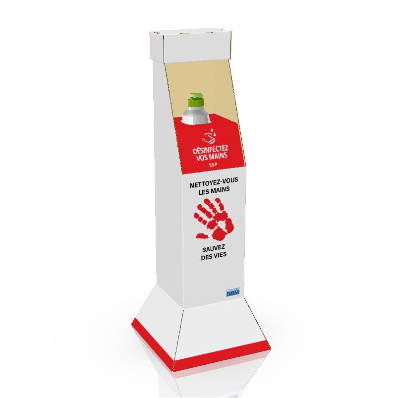 Présentoir de plancher personnalisé en carton avec insertion en coroplast pour bouteille de désinfectant pour les mains - 3d