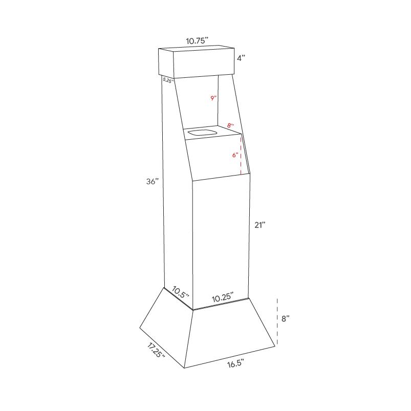 Présentoir de plancher personnalisé en carton avec insertion en coroplast pour bouteille de désinfectant pour les mains - dimensions