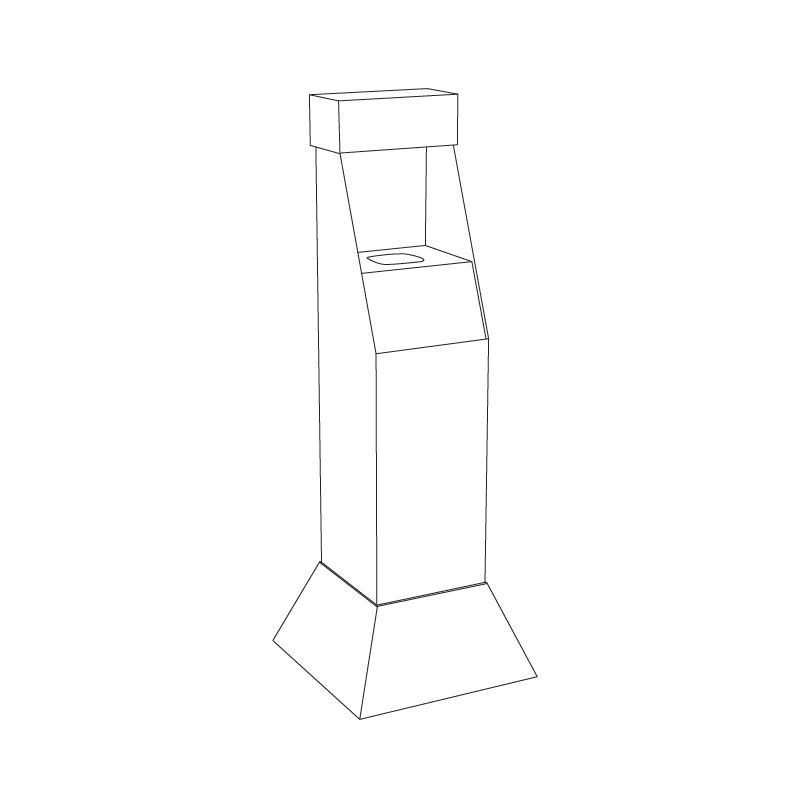 Présentoir de plancher personnalisé en carton avec insertion en coroplast pour bouteille de désinfectant pour les mains - tracé