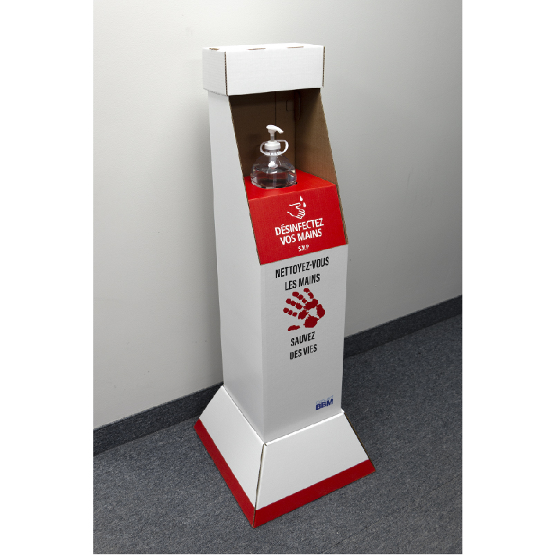Présentoir de plancher personnalisé en carton avec insertion en coroplast pour bouteille de désinfectant pour les mains - imprimé