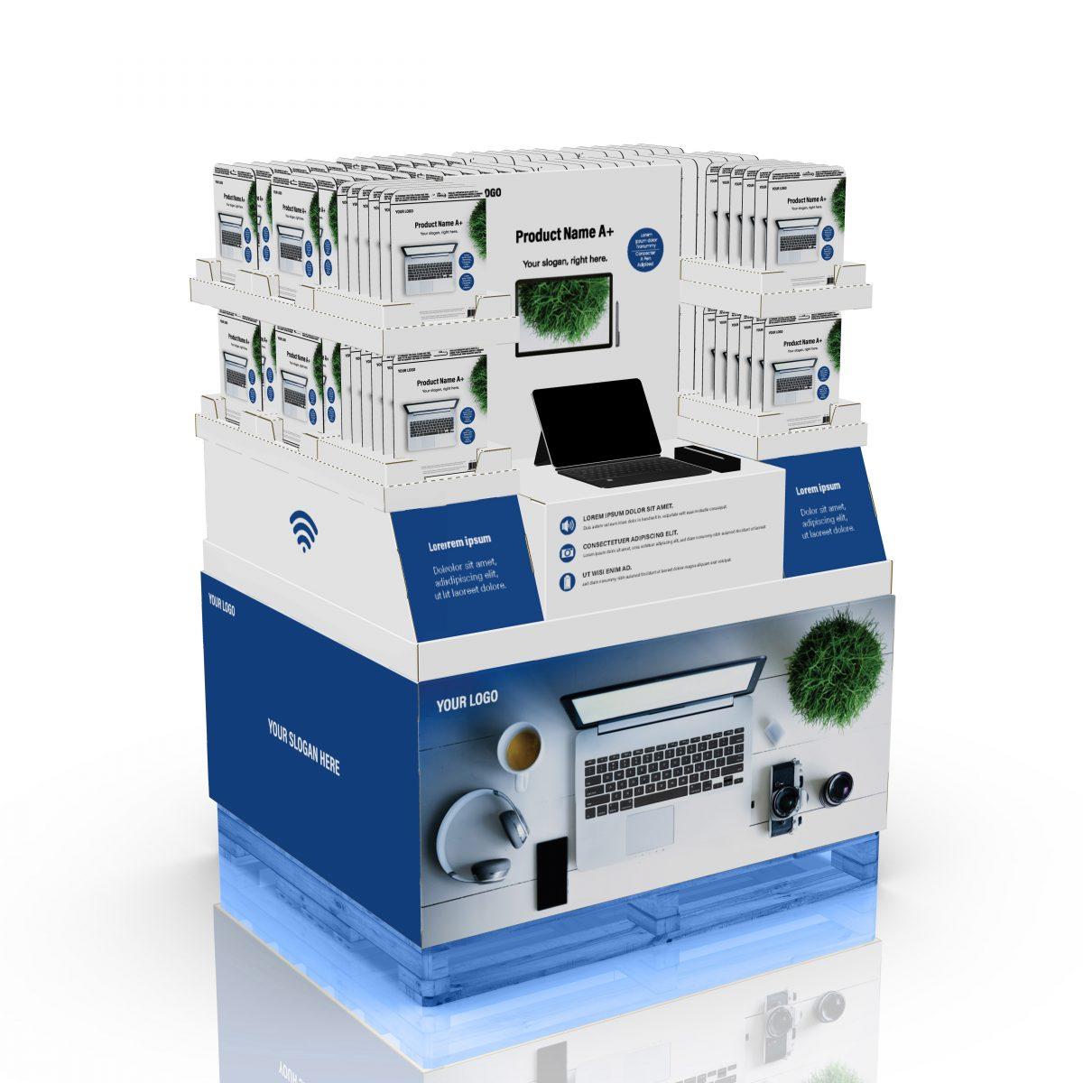 48'' x 40'' Palette multimédia pour appareils électroniques, avec en-tête imprimable. Peut accueillir un démonstrateur au centre - 3D