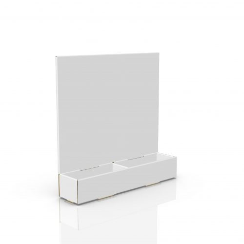 Cardboard counter display with header and 2 compartments - 3d