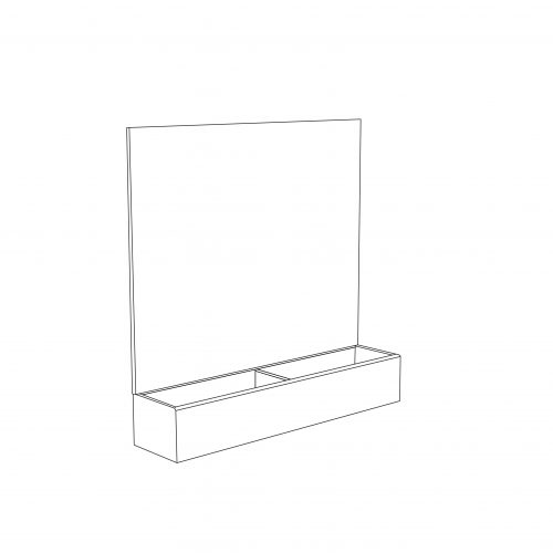 Cardboard counter display with header and 2 compartments - outline