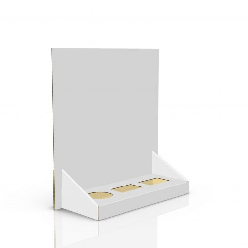 Cardboard counter display with header and 3 cuts to insert products (2 rectangles and 1 circle) - 3d