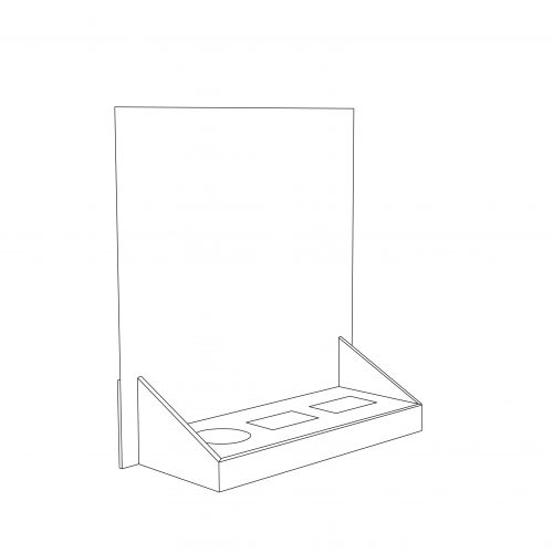 Cardboard counter display with header and 3 cuts to insert products (2 rectangles and 1 circle) - outlne