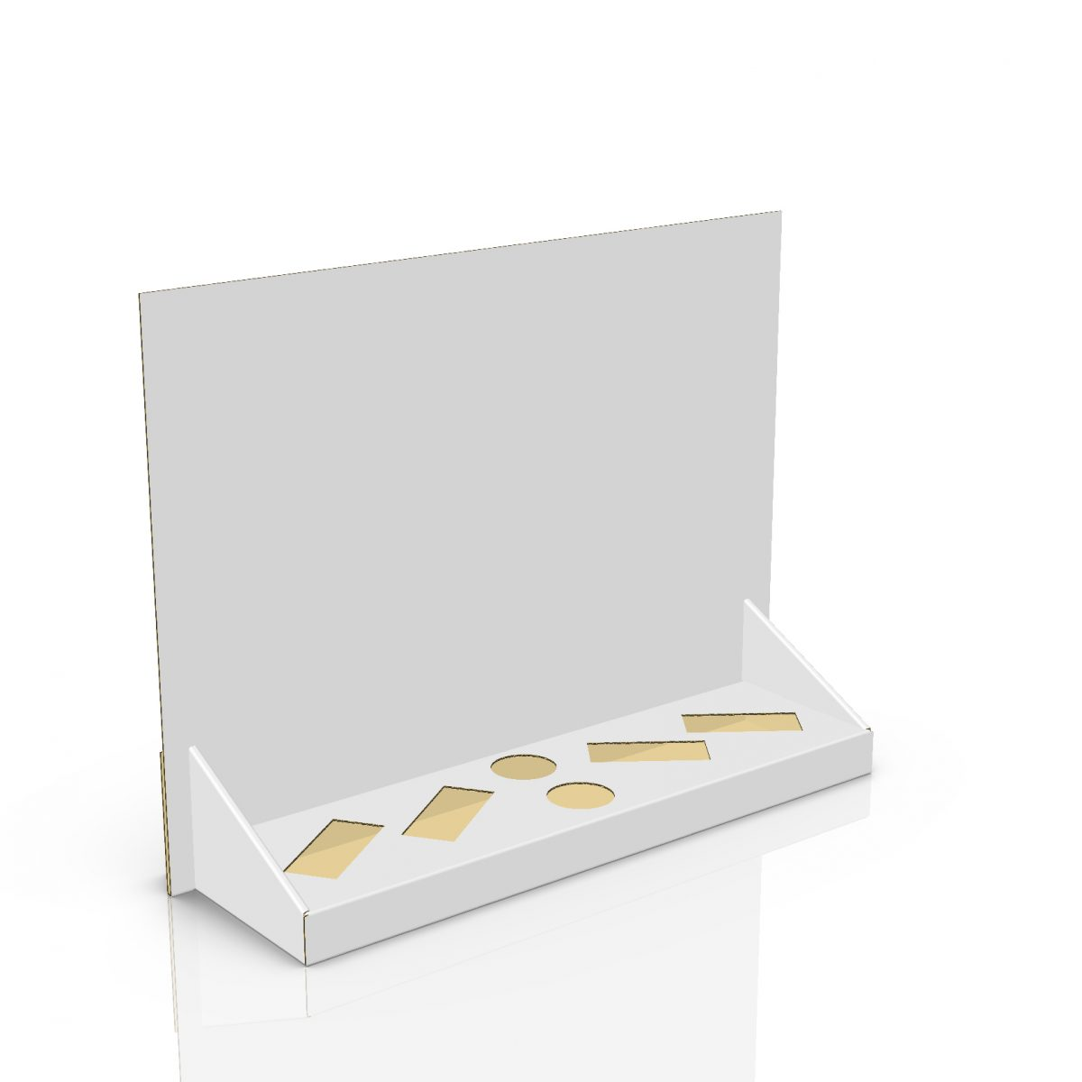 Cardboard counter display with header and 6 cuts to insert products (4 rectangles and 2 circles) - 3d