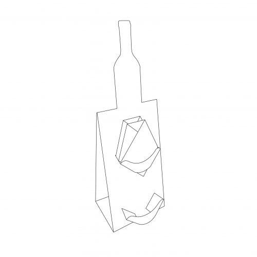 Présentoir de comptoir en carton, petit chevalet avec découpe spéciale en forme de bouteille de vin, 2 tablettes pour cartes - dimensions
