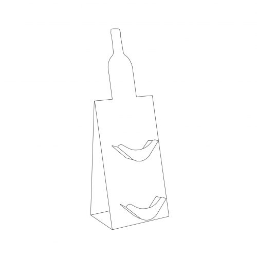 Cardboard counter display with special bottle-shape cut and 2 small shelves for cards - outline