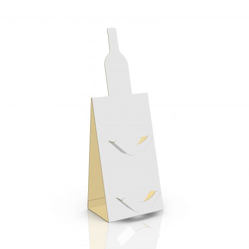 Cardboard counter display with special bottle-shape cut and 2 small shelves for cards - 3d