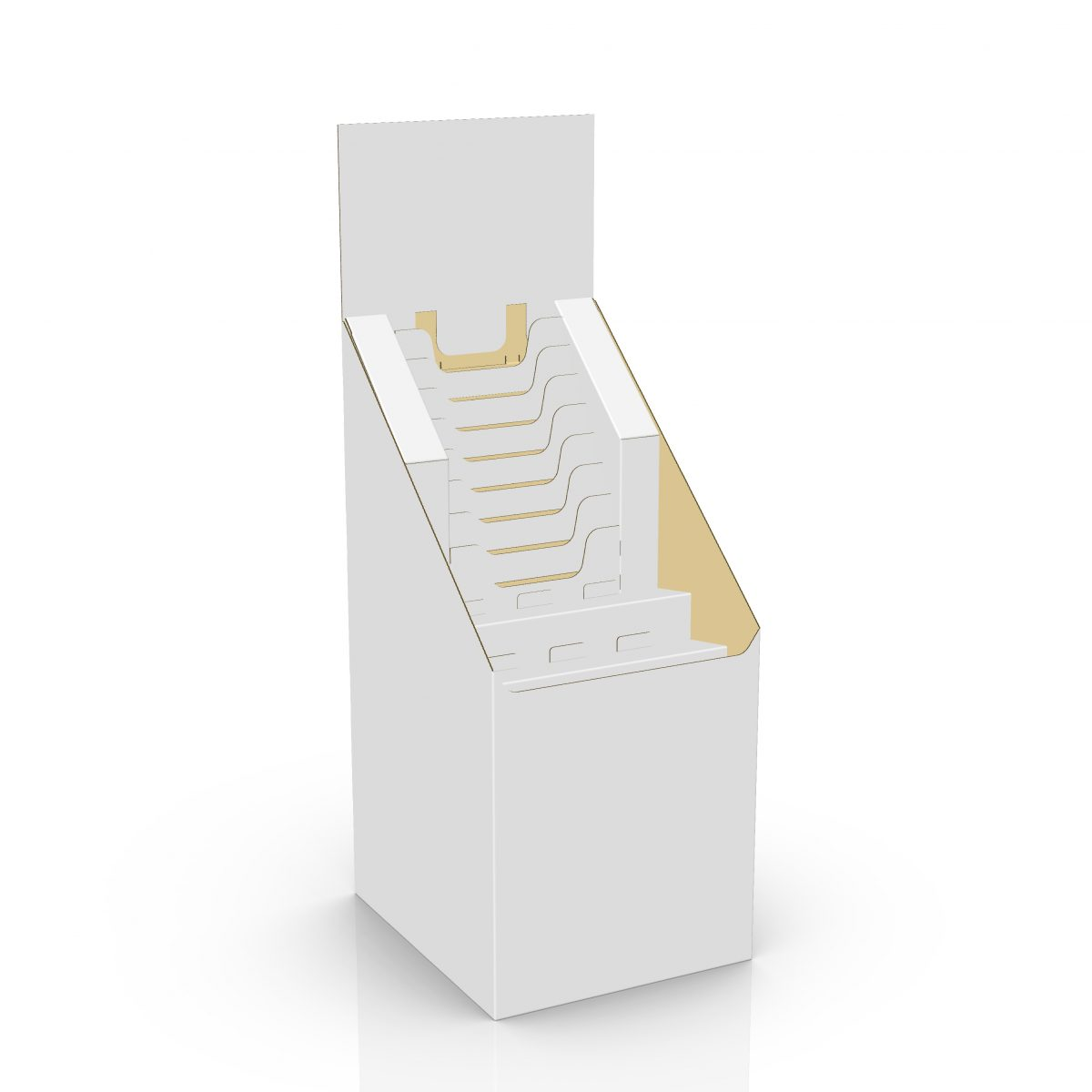 3D of Cardboard floor display with multiple file holders, a header and 2 shelves, size of a quarter pallet