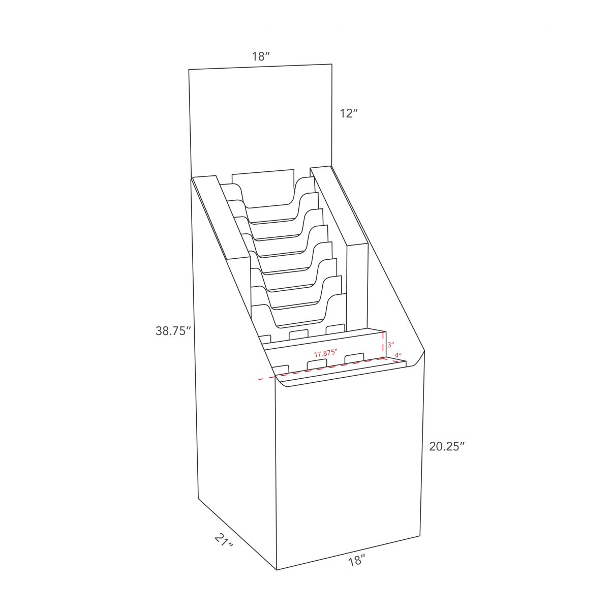 Dimensions of Cardboard floor display with multiple file holders, a header and 2 shelves, size of a quarter pallet