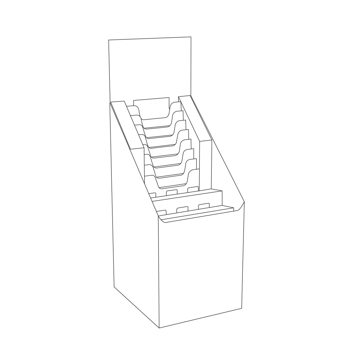 Outline of Cardboard floor display with multiple file holders, a header and 2 shelves, size of a quarter pallet