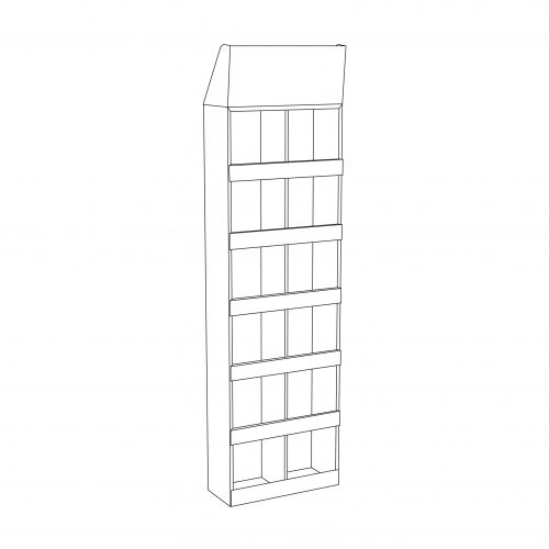 Cardboard Sidekick designed to be wall mounted, with 5 shelves and a separator in the middle (12 slots) and an optional header - outline