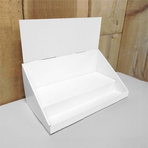 Présentoir de comptoir en carton avec en-tête et 2 étages - blanc
