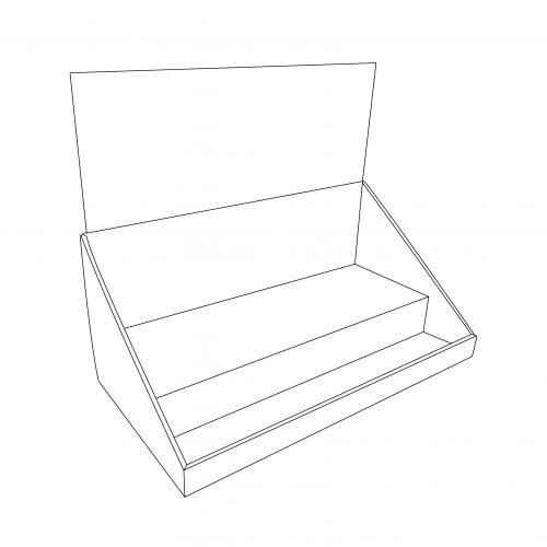Présentoir de comptoir en carton avec en-tête et 2 étages - tracé
