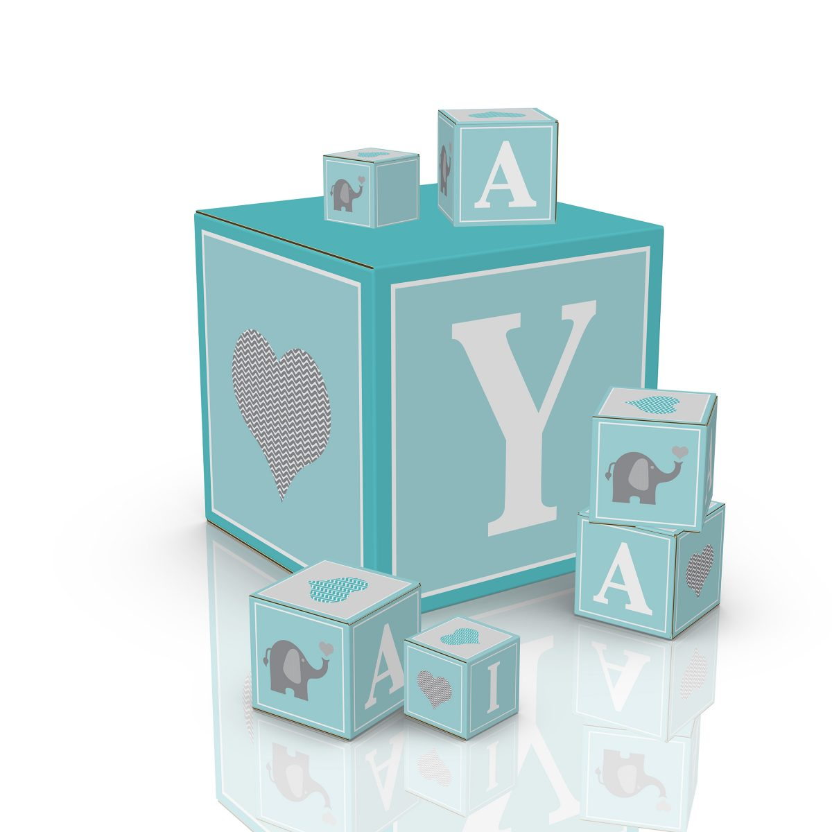 Custom cardboard cubes for baby shower decorations - 3d