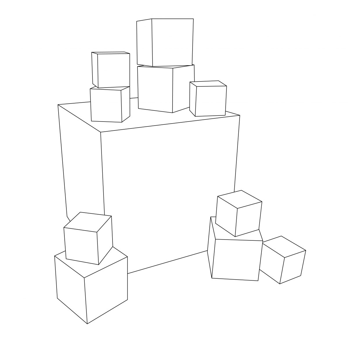 Custom cardboard cubes for baby shower decorations - outline