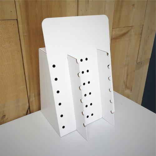 Présentoir de comptoir personnalisé avec insert pour accrocher des lunettes. 2 colonnes de 6 lunettes chacune - white