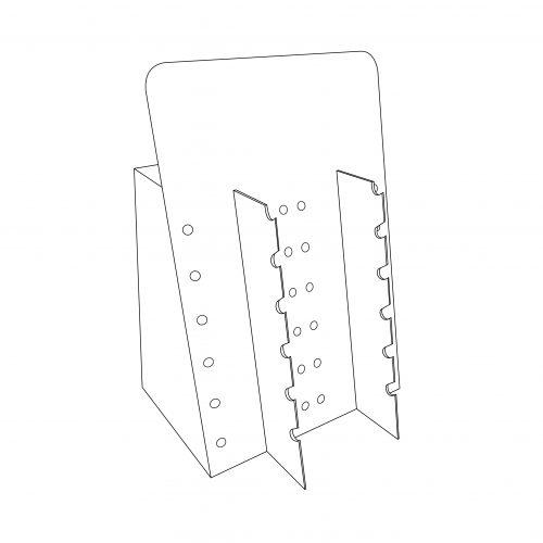 Présentoir de comptoir personnalisé avec insert pour accrocher des lunettes. 2 colonnes de 6 lunettes chacune - tracé