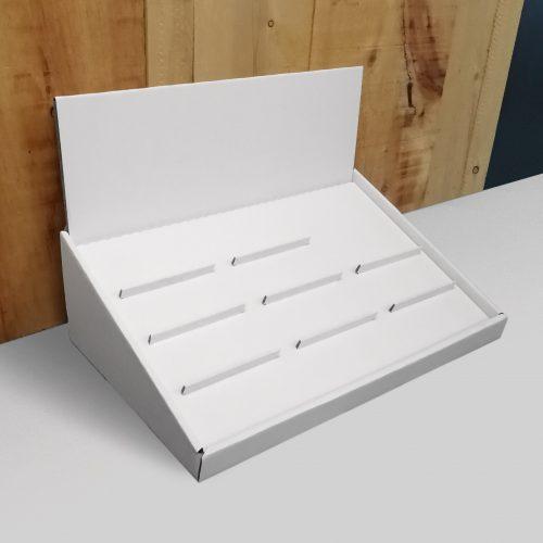 Présentoir de comtoir en angle avec insertion pour tenir 10 lunettes (3 colonnes) - blanc