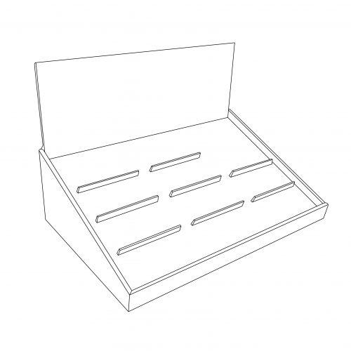 Présentoir de comtoir en angle avec insertion pour tenir 10 lunettes (3 colonnes) - tracé